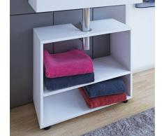 VCM Waschtischunterschrank Unterschrank Waschbeckenunterschrank Badschrank Badregal Weiß Holz 30 x 60.5 x 51 cm Offana