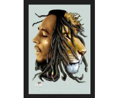 empireposter - Marley, Bob - Lion - Größe (cm), ca. 30x40 - Maxi-Spiegel, NEU - Beschreibung: - Bedruckter Wandspiegel mit schwarzem Kunststoffrahmen in Holzoptik -