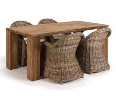 Massivum Caracas Tischgruppe, Holz, braun, 90 x 180 x 78 cm