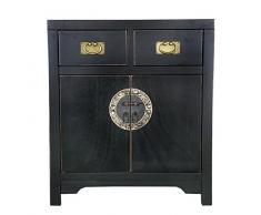 SIT-Möbel 1854-11 Kommode Chinese, 70 x 42 x 80 cm, im Stil der Ming Dynastie, Pappel massiv schwarz lackiert