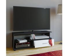 VCM TV-Lowboard Rack Konsole Fernsehtisch Möbel TV Bank Tisch Holz Schrank Schwarz/Weiß 43 x 110 x 40 cm Rimini