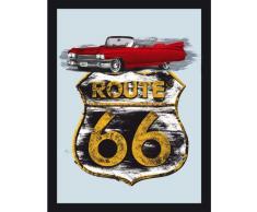 empireposter - Route 66 - Cadillac - Größe (cm), ca. 30x40 - Maxi-Spiegel, NEU - Beschreibung: - Bedruckter Wandspiegel mit schwarzem Kunststoffrahmen in Holzoptik -
