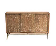 Kare Design Sideboard Mesh Brass, moderne TV Kommode mit 3 Schiebetüren, Braun (H/B/T) 92x146x45,5cm