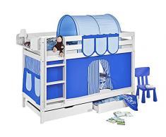 Lilokids Etagenbett Jelle TÜV und GS geprüft, Hochbett mit Vorhang und Lattenroste Kinderbett, Holz, blau, 208 x 98 x 150 cm