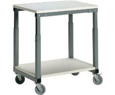 TRESTON SAP-710 Tischwagen, ohne Unterplatte. Stahlgestell mit laminierter Tischplatte, grau, 100 x 70 x 65 cm. Unterplatte bitte separat bestellen.