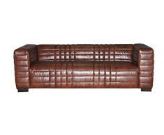 SIT-Möbel 6000-30 3-Sitzer Sofa aus Kunstleder, Beine aus Hevea-Holz, braune Couch, 220 x 91 x 66 cm