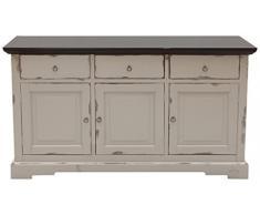 SIT-Möbel 9703-97 Sideboard Spa, Akazie massiv, Farbe taupe, 3 Holztüren, 3 Schubladen, 148 x 44 x 83,5 cm
