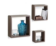 Relaxdays Wandregal Cube 3er Set, quadratische MDF Wandboards, belastbare Schweberegale für das Wohnzimmer, braun