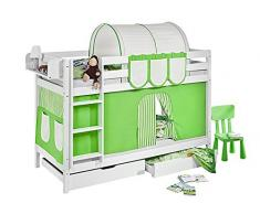 Lilokids Etagenbett Jelle TÜV und GS geprüft, Hochbett mit Vorhang und Lattenroste Kinderbett, Holz, grün / beige, 208 x 98 x 150 cm