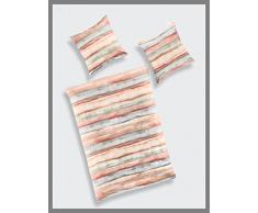 Bierbaum Biber Bettwäsche Design 3060 Bettdecke 200/200 + Größe Kissen 080/080, Baumwolle, Orange, 200 x 200 cm, 2-Einheiten
