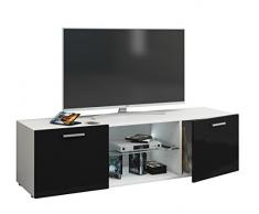 VCM TV Schrank Lowboard Tisch Board Fernseh Sideboard Wandschrank Wohnwand Holz Weiß/Schwarz 40x115x36 cm Jusa Hochglanz