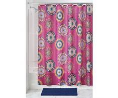 InterDesign Padma Medallion Textil Duschvorhang | farbenfroher Vorhang aus Stoff für Badewanne und Duschwanne | pflegeleichte 183 cm x 183 cm große Duschabtrennung | Polyester pink