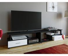 VCM TV Lowboard Schrank Tisch Rack Fernsehschrank Fernseh Möbel Bank Holz Schwarz/Weiß 43 x 220 x 40 cm Rimini Maxi