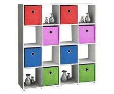 VCM Badregal Raumteiler Badschrank Badmöbel Regal Hochschrank Benos-4x4 Weiß 123x120x30 cm Badezimmermöbel Sideboard