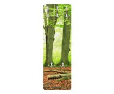 Apalis 79174 Wandgarderobe Mighty Beech Trees | Design Garderobe Garderobenpaneel Kleiderhaken Flurgarderobe Hakenleiste Holz Standgarderobe Hängegarderobe | 139x46cm