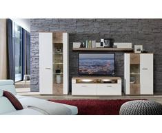 NEWFACE Asta Wohnwand Kombination inklusive Glasbodenbeleuchtung, Holz, planked eiche mit weiß, 348.30 x 52 x 198.30 cm
