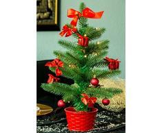 Best Season LED Weihnachtsbaum mit Dekoration, rot, ca. 45cm, Plastik, Grün, 20 x 20 x 45 cm