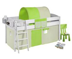 Lilokids IDA4105KW-GRUEN-BEIGE Kinderbett, Holz, grün / beige, 208 x 98 x 113 cm