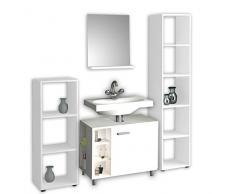 VCM Badmöbel Set 5-tlg. Badset Komplett Bad Badezimmer Regal Schrank Unterschrank Spiegel Möbel Navella