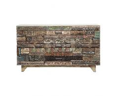 Kare Design Sideboard Shanti Surprise Puzzle, Breite Kommode aus Mango Holz, Design Schrank mit handgeschnitzten Fronten, Bunt (H/B/T) 90x160x42 cm