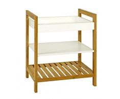 HAKU Möbel 14389 Beistelltisch, Holz, Weiß-Natur, 40 x 30 x 50