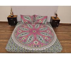 Indian Pink Grün Urban Paisley Outfitters Wandteppich Mandala Überwurf Tagesdecke Gypsy, Boho Queen Doppelbett Doona & 2 Kissen Fall Set 100% Baumwolle 233,7 x 213,4 cm.