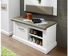 Stella Trading 3041UU60 Landhaus Bank Sitzkommode mit Sitzkissen, Holz, weiß, 100.00 x 42.00 x 51.00 cm