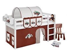 Lilokids JELLE2054KW-TRECKER-BRAUN Spielbett Jelle Trecker, Hochbett mit Vorhang Kinderbett, Holz, braun / beige, 208 x 98 x 113 cm