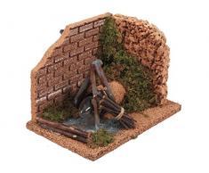 Bertoni Miniatur Eck Kamin mit Rock Wand, Holz, mehrfarbig, 15Â x 10Â x 10Â cm