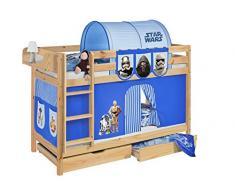 Lilokids Etagenbett Jelle TÜV und GS geprüft Star Wars, Spielbett mit Vorhang und Lattenroste Kinderbett, Holz, blau, 208 x 98 x 150 cm