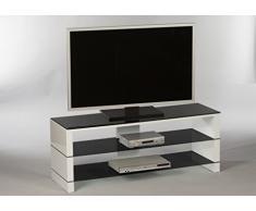 Stella Trading Pisa Lowboard, Holzdekor, Schwarz / Weiß, 130 x 50 x 40 cm