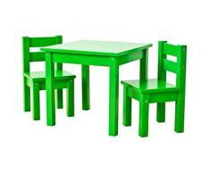 Hoppekids Kindersitzgruppe mit 1 Kindertisch und 2 Kinderstühle, teilmassiv, sehr stabil, viele Farben, Holz, grün, 55 x 50 x 47 cm