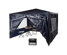 Relaxdays Pavillon 3x3 m, 4 Seitenteile, Metall Gestell, PE Plane, Fenster, Festival Partyzelt, Geschlossen, Blau
