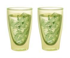 Levivo doppelwandiges langes Thermoglas 400 ml, ideal als Kaffeeglas oder Teeglas, mundgeblasene Thermo-Gläser, hitzebeständig, handgefertigt, kratzfest und spülmaschinengeeignet, 2er-Set, grün