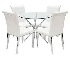 Febland Chrom Criss-Cross-Basis Esstisch und 4 Kirkland Esszimmerstühle, Glas, Weiß, 74 x 90 x 90 cm