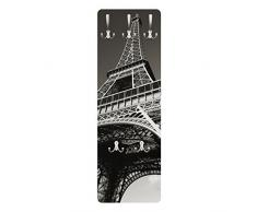 Apalis 78818 Wandgarderobe Eiffelturm | Design Garderobe Garderobenpaneel Kleiderhaken Flurgarderobe Hakenleiste Holz Standgarderobe Hängegarderobe | 139x46cm