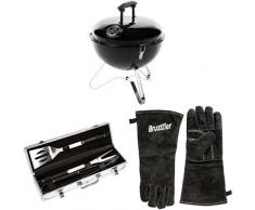 Bruzzzler tragbarer Kugelgrill - Picknickgrill für Holzkohle + Grillbesteck + Grillhandschuhe
