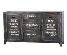 Sit Möbel Bronx 4203-11, Sideboard mit 2 Türen, 3 Schubladen, Mangoholz, schwarz lackiert, Wordprints, 150 x 40 x 85 cm
