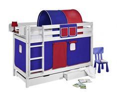 Lilokids Etagenbett Jelle TÜV und GS geprüft, Hochbett mit Vorhang und Lattenroste Kinderbett, Holz, blau / rot, 208 x 98 x 150 cm