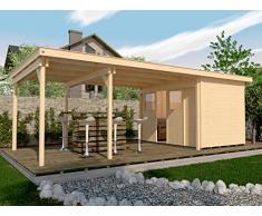 Weka Gartenhaus, Lounge-Haus 225 B Größe 2, 21 mm, Schiebetür, 450 cm, ohne RW, braun, 768x325x223 cm, 225.3030.10301