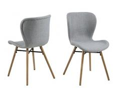 AC Design Furniture H000016440 Esszimmerstuhl, Stoff, hellgrau, 56 x 47 x 82.5 cm