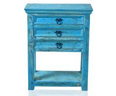 Sit Möbel 1256-13 Telefontisch Blue, Echtes Altholz, washed, 3 Schubladen innen: 40 x 24 x 7 cm, 1 Ablageboden, Stärke der Abdeckplatte 2 cm, Belastbarkeit 60 kg, 60 x 32 x 79 cm