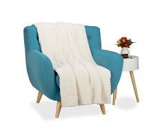 Relaxdays Kuscheldecke groß, Tagesdecke 150 x 200 cm, Wohndecke warm, Sofadecke flauschig, Sofaüberwurf uni, creme-weiß