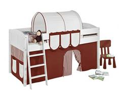 Lilokids IDA4106KW-BRAUN-BEIGE-S Kinderbett, Holz, braun / beige, 208 x 98 x 113 cm