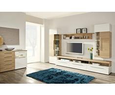 Firstloft Space Wohnwand, Holzdekor, Weiß Hg / Eiche Bianco, 52.00 x 330.00 x 210.00 cm