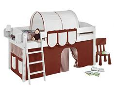 Lilokids IDA4105KW-BRAUN-BEIGE-S Kinderbett, Holz, braun / beige, 208 x 98 x 113 cm