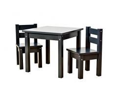 Hoppekids Kindersitzgruppe mit 1 Kindertisch und 2 Kinderstühle, teilmassiv sehr stabil, viele Farben, Holz, anthrazit grau, 55 x 50 x 47 cm