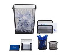 Relaxdays Schreibtisch Organizer 6er Set, Ablage Visitenkarten, Zettelbox, Briefablage, Stifteköcher, Mülleimer, schwarz
