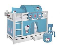 Lilokids Etagenbett Jelle TÜV und GS geprüft Hello Kitty, Hochbett mit Vorhang und Lattenroste Kinderbett, Holz, türkis, 208 x 98 x 150 cm