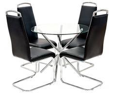 Febland Chrom Criss-Cross-Basis Esstisch und 4 Griff Esszimmerstühle, Glas, Schwarz, 74 x 90 x 90 cm